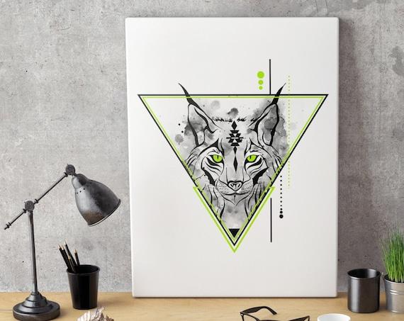 Geometrical Lynx | Bobcat animal spirit totem | Framed Canvas | Geometric Art | Original Artwork | Spirituality | Shamanism | ZuskaArt