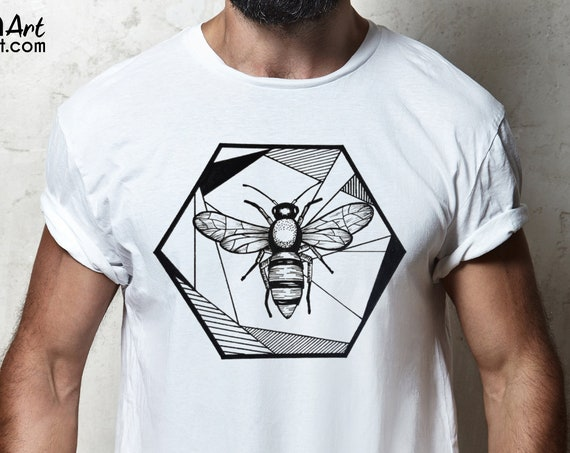 Honeycomb Bee | Unisex T-shirt | Geometric Art | Save The Bees | Ink Tattoo style | ZuskaArt