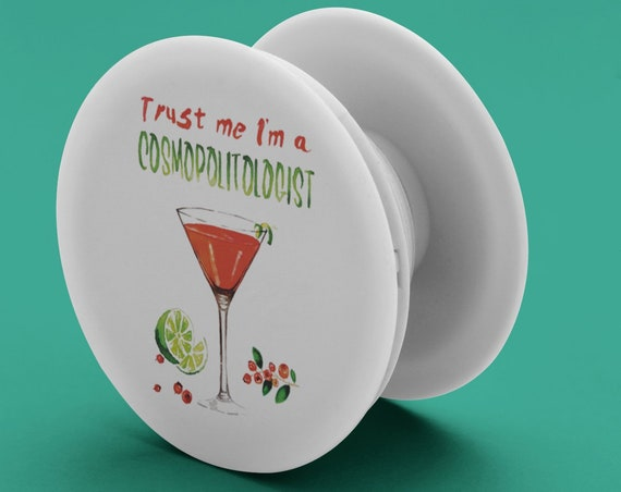 Cosmopolitan Cocktail PopSocket Phone Accessory | Tech Christmas Gift | Iphone / Samsung Phone Decal | Watercolor Alcohol Pop Socket |