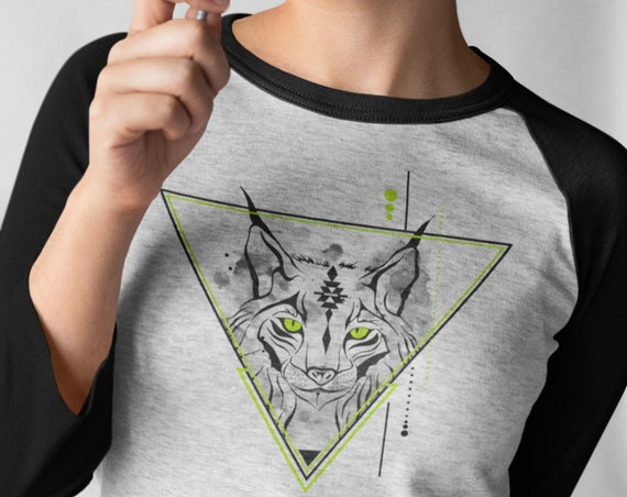 Geometrical Lynx | Bobcat animal spirit totem Raglan Shirt | Unisex Raglan T-Shirt | 3/4 sleeves | Basketball shirt | Apparel for her / him