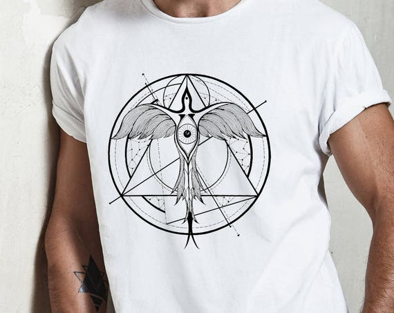 Phoenix ascending | Unisex T-Shirt  | Geometrical drawing | Graphic shirt | Ink Tattoo style | Alchemy | Original artwork | ZuskaArt