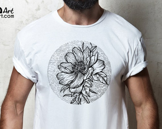 Blooming Flower | Unisex T-shirt | Cherry Tree | Geometric Art | Ink Tattoo style | ZuskaArt