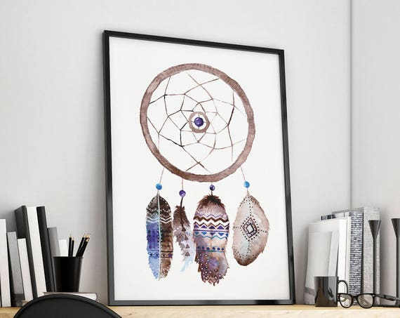 Boho dreamcatcher | Framed Poster | Native american Feathers | Watercolor Hippie art | Wall art decor | Archival print | ZuskaArt
