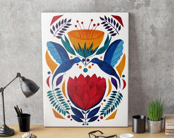 Love Birds | Ethnical painting | Framed Canvas | Wall decor | Watercolor painting | art prints for sale | Colorful floral artwork | ZuskaArt