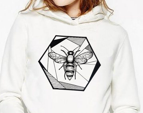Honeycomb Bee | Unisex Heavy Blend Hooded Sweatshirt | Geometric Art | Save The Bees | Ink Tattoo style | ZuskaArt