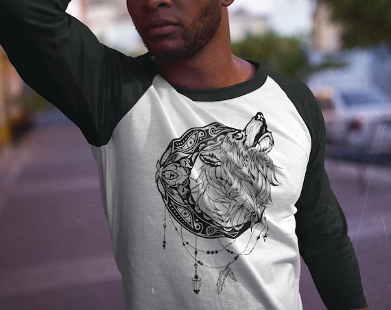 Mandala moon howling wolf | Unisex Raglan T-Shirt | 3/4 sleeves | Apparel for her / him | Animal spirit totem | Ink Tattoo design