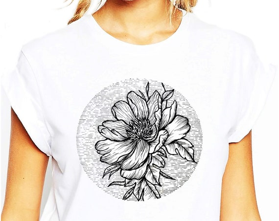 Blooming Flower | Unisex T-shirt | Cherry Tree | Geometric Art | Ink Tattoo style | ZuskaArt