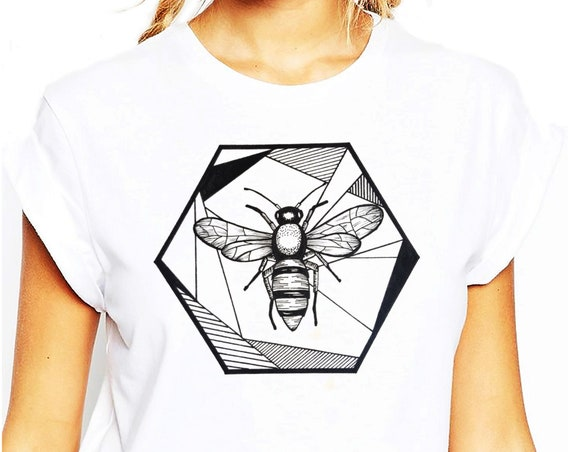 Honeycomb Bee | Unisex T-shirt | Geometric Art | Save The Bees | Ink Tattoo style | ZuskaArt
