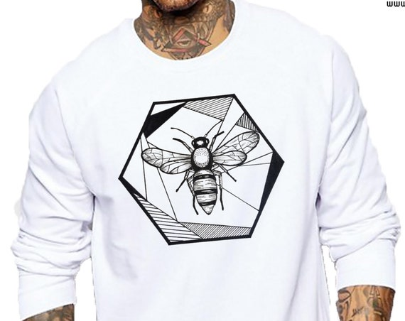 Honeycomb Bee | Unisex Heavy Blend Crewneck Sweatshirt | Geometric Art | Save The Bees | Ink Tattoo style | ZuskaArt