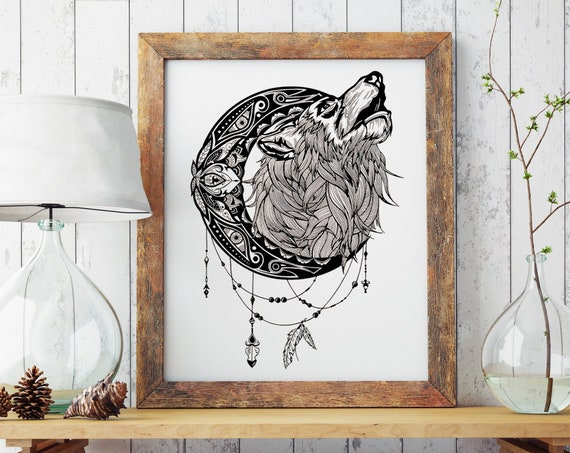 Mandala moon howling wolf | Enhanced Matte Paper Poster | Animal spirit totem | Ink Tattoo design | Shamanism | Original Artwork | ZuskaArt