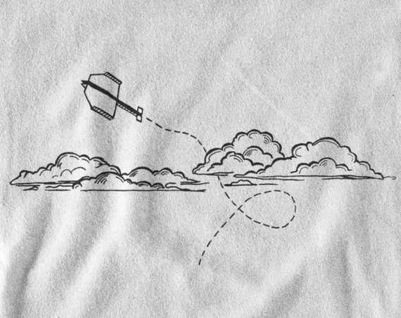 Paper plane in the clouds | Minimalist hip design | T-shirt | Hoodie | Sweatshirt | Ink tattoo | Simple Art | Logo graphic | ZuskaArt