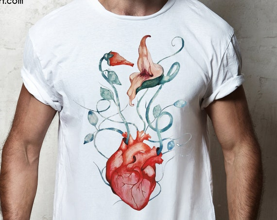 Pink Floyd The Wall Flowers Unisex T-shirt | Rock music shirt | Anatomical heart | Psychedelic art | Graphic Tee | ZuskaArt