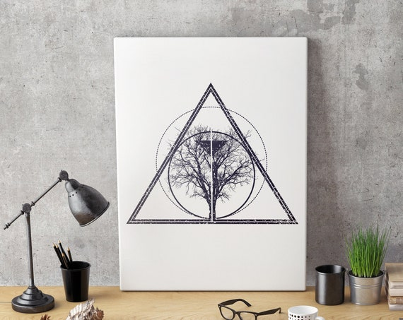 Tree of Life / Knowledge | Framed Canvas | Geometric Art | Bodhi Tree | Ink Tattoo style | Original Artwork | ZuskaArt