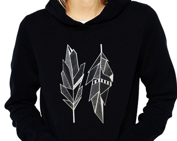 Sacred Feathers | Unisex Heavy Blend Hooded Sweatshirt | Native American Art | Graphic Drawing | Geometric Art | Ink Tattoo style | ZuskaArt