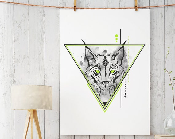 Geometrical Lynx | Bobcat animal spirit totem | Enhanced Matte Paper Poster | Geometrical Art | Original Artwork | Spirituality | ZuskaArt