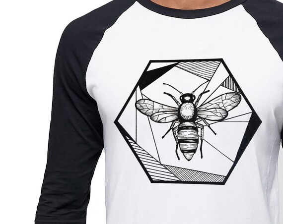 Honeycomb Bee | Unisex Raglan T-Shirt | 3/4 Sleeves | Geometric Art | Save The Bees | Ink Tattoo style | ZuskaArt