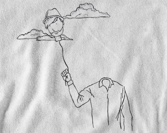 Head in the clouds | Minimalist hip design | T-shirt | Hoodie | Sweatshirt | Ink tattoo | Simple Art | Logo graphic | ZuskaArt