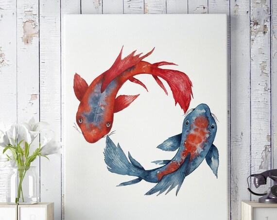 Yin Yang Koi Fish | Framed Canvas | Wall decor | Watercolor painting | Japanese art | Red and Blue artwork | Meditation art | ZuskaArt