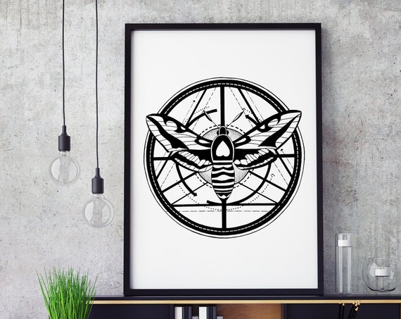 Moth Totem | Framed Poster | Wall art decoration | Metamorphosis | Ink drawing | Tattoo Style | Geometrical Art | ZuskaArt