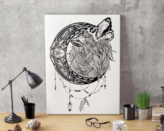 Mandala moon howling wolf | Framed Canvas | Animal spirit totem | Ink Tattoo design | Geometric Art | Original Artwork | ZuskaArt