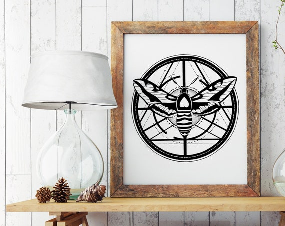 Moth Totem | Enhanced Matte Paper Poster | Geometrical Art | Metamorphosis | Ink Tattoo style | Black & White | ZuskaArt