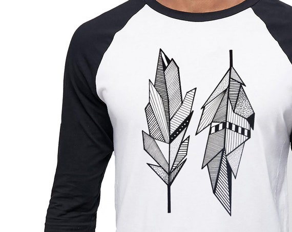 Sacred Feathers | Unisex Raglan T-Shirt | 3/4 Sleeves | Native American Art | Graphic Drawing | Geometric Art | Ink Tattoo style | ZuskaArt