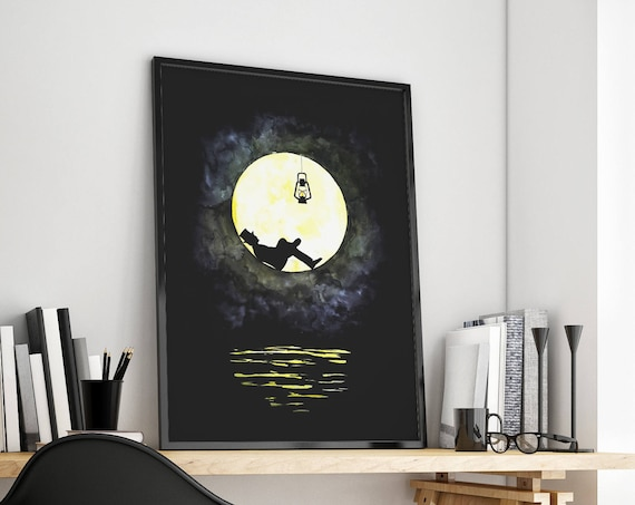 The lunatic | Man in the moon framed poster | Wall art decoration | Watercolor painting | Original artwork | Lightbulb | ZuskaArt