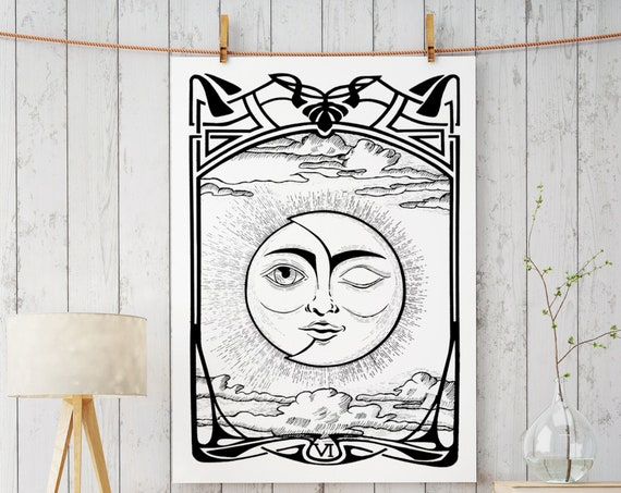 The Lovers VI Tarot Card | Enhanced Matte Paper Poster | Sun and Moon | Solar Eclipse | Original artwork archival | Ink drawing | ZuskaArt