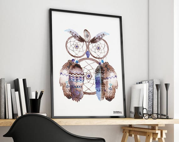 Owl Dreamcatcher | Framed Poster | Native american Feathers | Watercolor Hippie art | Wall art decor | Archival print | ZuskaArt