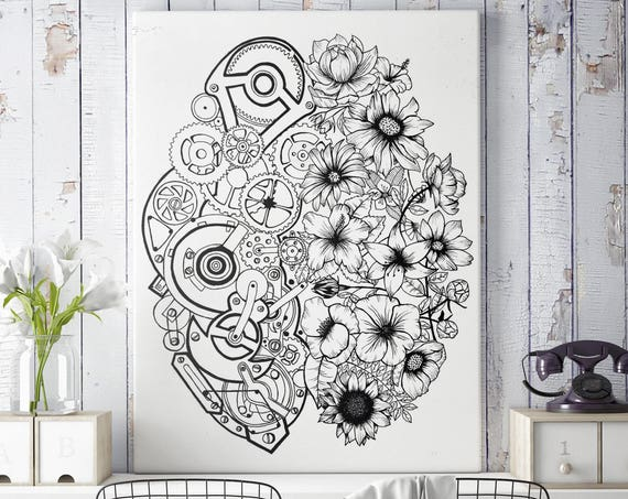 Left Brain Right Brain | Framed Canvas | Wall decor | Ink Illustration | Tattoo art | Black and white | Floral art | Mechanisms poster