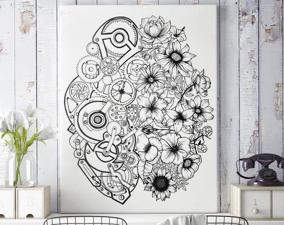 Left Brain Right Brain | Framed Canvas | Wall decor | Ink Illustration | Tattoo art | Black and white | Floral art | Mechanisms poster