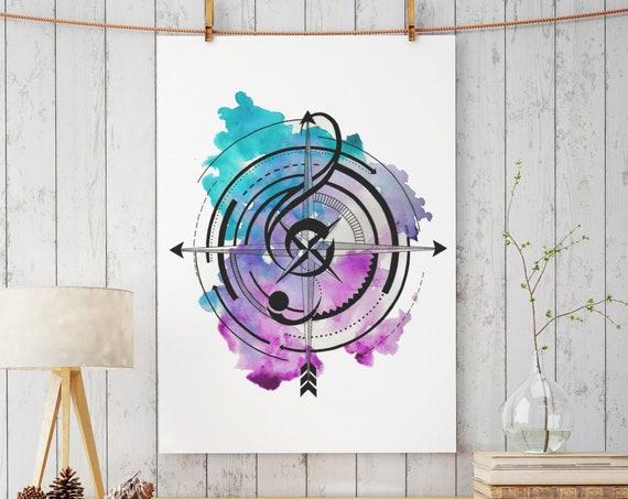 Sol key compass | Enhanced Matte Paper Poster | Geometrical Art | Ink Tattoo style | Watercolor Art | Music Lover | ZuskaArt