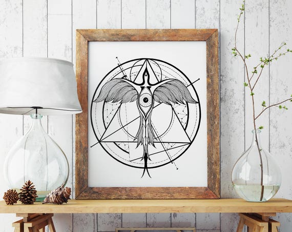 Phoenix Ascending | Paper poster | Geometric tattoo art | Black and white wall decor | Alchemy | Horus Third Eye | ZuskaArt