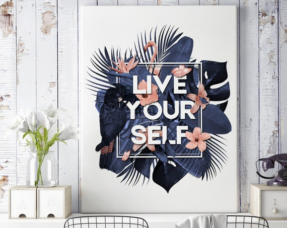 Live Your Self | Framed Canvas | Wall art decor| Tropical leaves flowers| Parrots and butterflies| Motivational quote poster | ZuskaArt