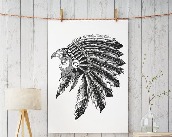 Horus falcon with sacred feathers headdress | Enhanced Matte Paper Poster | Third eye of Horus | Tattoo style | Ink drawing | ZuskaArt