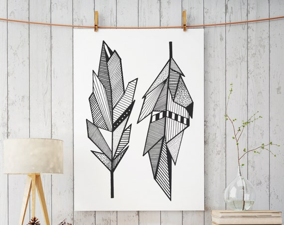Sacred Feathers | Enhanced Matte Paper Poster | Native American Art | Graphic Drawing | Geometric Art | Ink Tattoo style | ZuskaArt