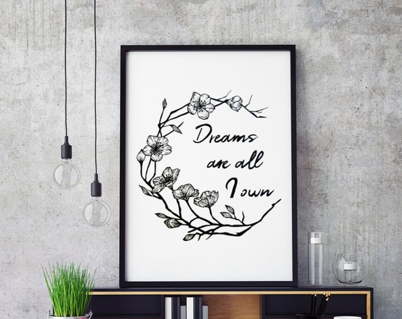 Dreams are all I own | Framed Poster | Typography Art | Cherry Tree Flowers | Geometric Art | Ink Tattoo style | Original Artwork | ZuskaArt