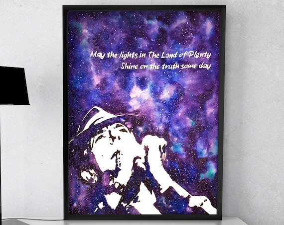 Leonard Cohen tribute | Framed poster | Wall decor | Music artwork | Folk Art | Purple galaxy | Watercolor painting| ZuskaArt