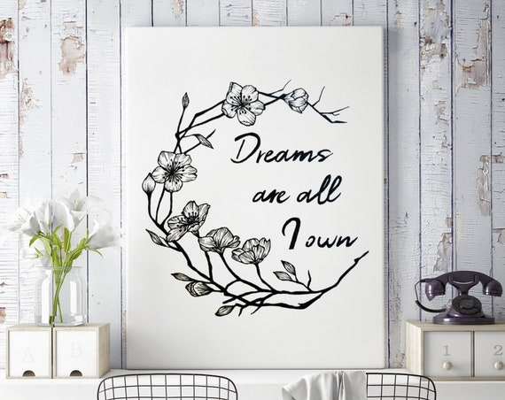 Dreams are all I own | Framed Canvas | Typography Art | Cherry Tree Flowers | Geometric Art | Ink Tattoo style | Original Artwork | ZuskaArt