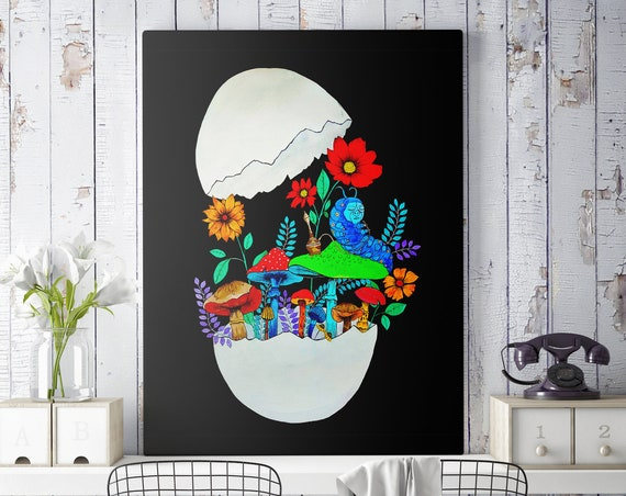 Smoking caterpillar | Framed Canvas | Absolem | Alice in wonderland | Magic mushrooms | Psychedelic art | Watercolor egg painting | ZuskaArt