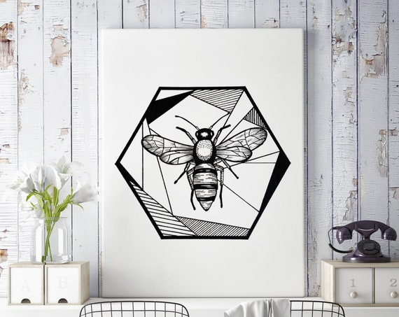 Honeycomb Bee | Framed Canvas | Geometric Art | Save The Bees | Ink Tattoo style | Original Artwork | ZuskaArt