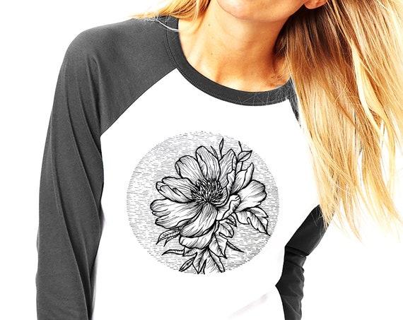 Blooming Flower | Unisex Raglan T-Shirt | 3/4 Sleeves | Cherry Tree | Geometric Art | Ink Tattoo style | ZuskaArt