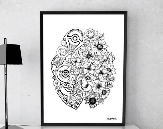 Left Brain Right Brain | Framed Poster | Wall decor | Ink Illustration | Tattoo art | Black and white | Floral art | Mechanisms |Zuska Art