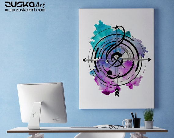 Sol key compass | Framed Canvas | Geometric Art | Music Lover | Ink Tattoo style | Original Artwork | Band Player | Musician | ZuskaArt