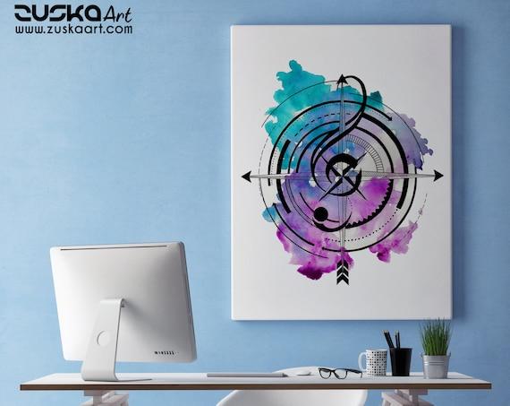 Sol key compass | Framed Canvas | Geometric Art | Music Lover | Ink Tattoo style | Original Artwork | Band Player | Musician | ZuskaArt
