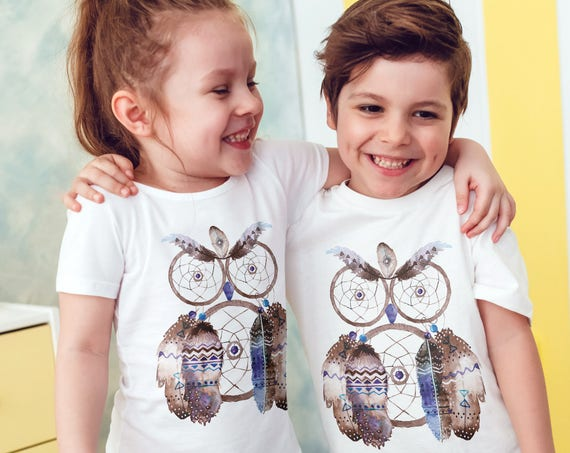 Boho Owl Dreamcatcher | Unisex kids T-shirt | American apparel for children and toddlers | original watercolor artwork |graphic native tee |