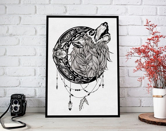 Mandala moon howling wolf | Framed Poster | Wall art decoration | Animal spirit totem | Ink Tattoo design | Shamanism | ZuskaArt