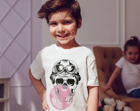 Aviator Sugar Skull with bubble gum | Unisex kids T-shirt | American apparel for children and toddlers | original watercolor artwork