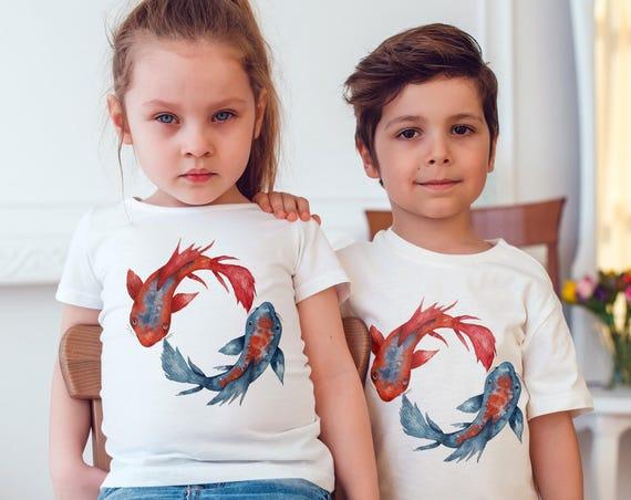 Yin Yang Koi Fish | Unisex kids T-shirt | American apparel for children and toddlers | original watercolor artwork | graphic tee |