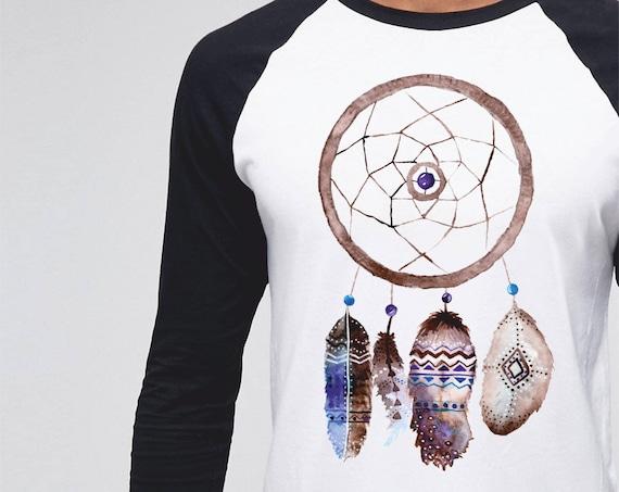 Dreamcatcher | Unisex Raglan Shirt | 3/4 sleeves | Basketball shirt | Sacred feathers Tee |Shirt for her / him | Native Apparel | Watercolor
